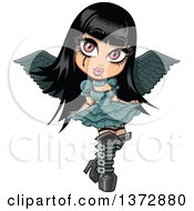 Clipart Of A Gothic Girl With Wings Royalty Free Vector Illustration