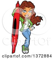 Clipart Of A Brunette White Crafty Woman With A Giant Marker Royalty Free Vector Illustration by Clip Art Mascots