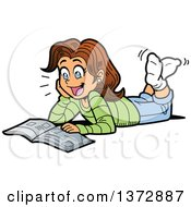 Clipart Of A Excited Brunette White Girl Reading A Magazine On The Floor Royalty Free Vector Illustration