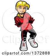 Clipart Of A Bond White Female Soccer Goalie Royalty Free Vector Illustration by Clip Art Mascots