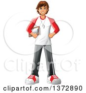 Clipart Of A Happy Brunette White Male Sports Coach Or Gym Teacher Royalty Free Vector Illustration by Clip Art Mascots