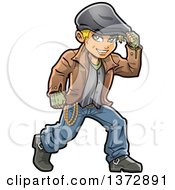 Clipart Of A Blond White Male Irish Hooligan Royalty Free Vector Illustration