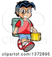 Clipart Of A Happy Hispanic School Boy Walking Royalty Free Vector Illustration by Clip Art Mascots