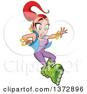 Clipart Of A Shocked Red Haired White Woman Roller Blading Royalty Free Vector Illustration