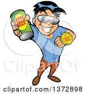 Clipart Of A Hispanic Man Holding Up A Beer Can And Ready To Party Royalty Free Vector Illustration
