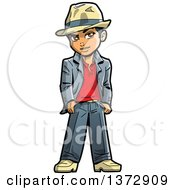Clipart Of A Cool Young Black Man Wearing A Fedora Royalty Free Vector Illustration
