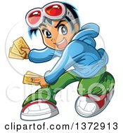 Clipart Of A Manga Boy Playing Cards Royalty Free Vector Illustration by Clip Art Mascots