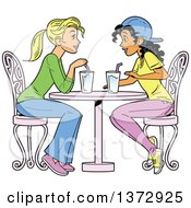 Clipart Of Two Women Having A Drink Together Royalty Free Vector Illustration