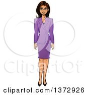 Brunette White Business Woman In A Purple Skirt Suit