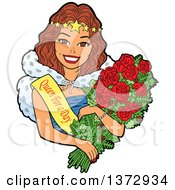 Clipart Of A Brunette White Woman Wearing A Queen For A Day Sash And Holding Roses Royalty Free Vector Illustration by Clip Art Mascots