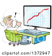 Cartoon Happy White Businessman Giving A Thumb Up And Sitting In Front Of A Growth Graph On A Computer