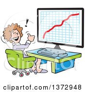 Cartoon Happy White Business Woman Giving A Thumb Up And Sitting In Front Of A Growth Graph On A Computer