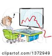 Clipart Of A Cartoon Stressed White Business Woman Sitting In Front Of A Declining Business Graph On A Computer Royalty Free Vector Illustration