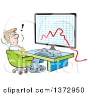 Cartoon Stressed White Businessman Sitting In Front Of A Declining Business Graph On A Computer