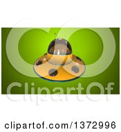 Clipart Of A 3d Ufo Flying Saucer On A Green Background Royalty Free Illustration