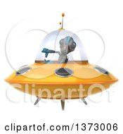 Clipart Of A 3d Alien Flying A Ufo And Giving A Thumb Down On A White Background Royalty Free Illustration