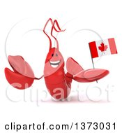 Clipart Of A 3d Happy Red Lobster Holding A Canadian Flag On A White Background Royalty Free Illustration
