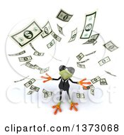 Clipart Of A 3d Green Business Frog Throwing Money On A White Background Royalty Free Illustration