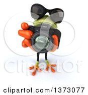 Clipart Of A 3d Green Business Frog Taking Pictures On A White Background Royalty Free Illustration