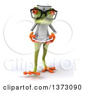 Clipart Of A 3d Green Sailor Springer Frog On A White Background Royalty Free Illustration