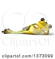 Clipart Of A 3d Light Green Frog Resting On His Side On A White Background Royalty Free Illustration by Julos