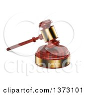 Clipart Of A 3d Wooden And Gold Gavel On A Sound Block On A White Background Royalty Free Illustration