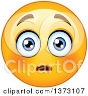 Clipart Of A Cartoon Yellow Emoticon Smiley Emoji With A Flushed Expression Royalty Free Vector Illustration