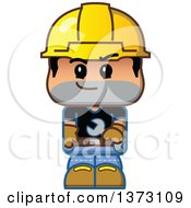 Male Construction Worker Wearing A Hardhat And Holding A Wrench