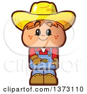 Clipart Of A Red Haired White Male Farmer Wearing A Straw Hat Royalty Free Vector Illustration by Clip Art Mascots