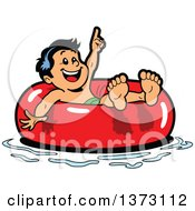 Clipart Of A Happy Boy Floating In An Inner Tube Royalty Free Vector Illustration