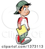 Clipart Of A Happy Casual Hispanic Boy Walking And Carrying A Book Royalty Free Vector Illustration