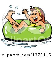 Happy Brunette White Girl Floating In An Inner Tube