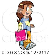 Clipart Of A Happy Brunette White School Girl Walking And Carrying A Book Royalty Free Vector Illustration