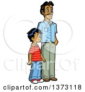 Clipart Of A Happy Casual Indian Father And Son Standing Royalty Free Vector Illustration