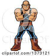 Clipart Of A Buff Manga Muscle Man Standing With Folded Arms Royalty Free Vector Illustration