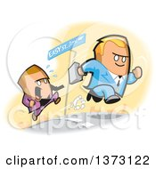Clipart Of Competitive White Business Men Racing Towards Easy Street Royalty Free Vector Illustration by Clip Art Mascots