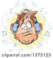 Clipart Of A Chubby White Mans Face With Headphones And Music Notes Royalty Free Vector Illustration