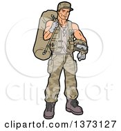 Clipart Of A Young White Male Soldier Carrying Gear Royalty Free Vector Illustration by Clip Art Mascots