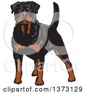 Clipart Of A Standing Alert Rottweiler Dog Royalty Free Vector Illustration by David Rey