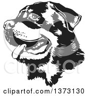 Clipart Of A Black And White Panting Rottweiler Dog Face Royalty Free Vector Illustration by David Rey #COLLC1373130-0052