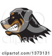 Clipart Of A Woodcut Growling Rottweiler Dog Face Royalty Free Vector Illustration by David Rey