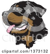 Clipart Of A Happy Panting Rottweiler Dog Face Royalty Free Vector Illustration by David Rey