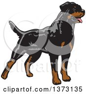 Clipart Of A Woodcut Standing Alert Rottweiler Dog Royalty Free Vector Illustration