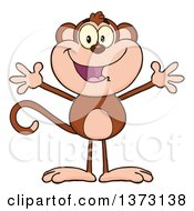 Cartoon Clipart Of A Happy Monkey Mascot With Open Arms Royalty Free Vector Illustration by Hit Toon