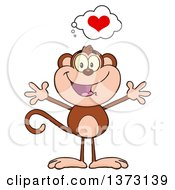 Cartoon Clipart Of A Happy Monkey Mascot With A Heart And Open Arms Royalty Free Vector Illustration
