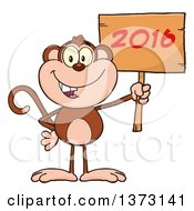 Cartoon Clipart Of A Happy Monkey Mascot Holding A Wooden New Year 2016 Sign Royalty Free Vector Illustration by Hit Toon