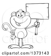 Cartoon Clipart Of A Black And White Happy Monkey Mascot Holding A Blank Wooden Sign Royalty Free Vector Illustration