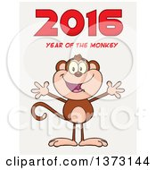 Cartoon Clipart Of A Happy Monkey Mascot With Open Arms Under New Year 2016 Text On Gradient White Royalty Free Vector Illustration by Hit Toon