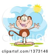 Cartoon Clipart Of A Happy Monkey Mascot With Open Arms Against A Blue Sky With Clouds And Sunshine Royalty Free Vector Illustration by Hit Toon