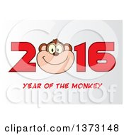 Cartoon Clipart Of A Happy Monkey Mascot Face In New Year 2016 On Gradient White Royalty Free Vector Illustration by Hit Toon
